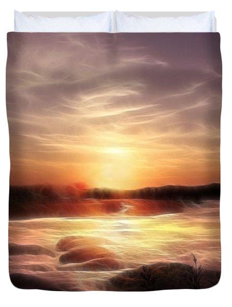 Golden Shore At Sunset Duvet Cover
