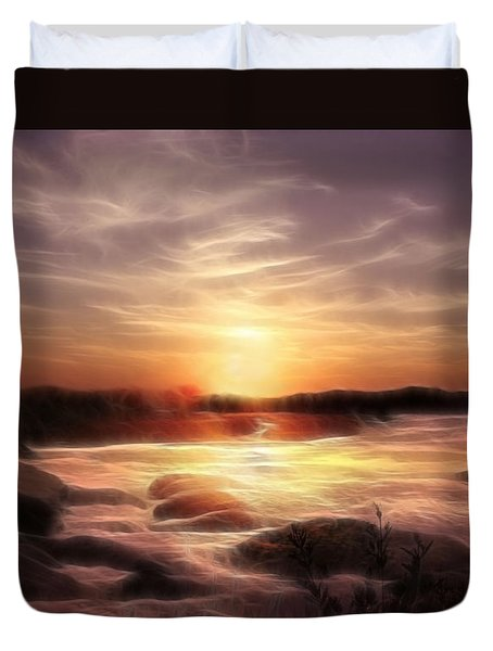 Golden Shore At Sunset Duvet Cover