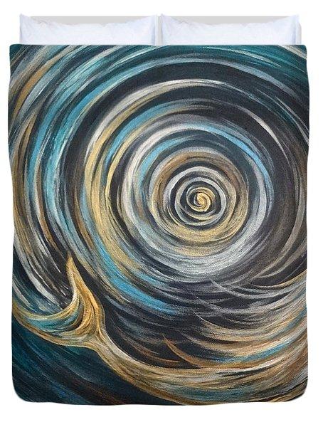 Golden Sirena Mermaid Spiral Duvet Cover
