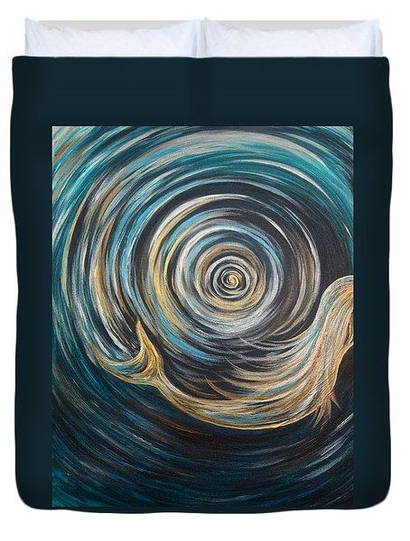 Golden Sirena Mermaid Spiral Duvet Cover