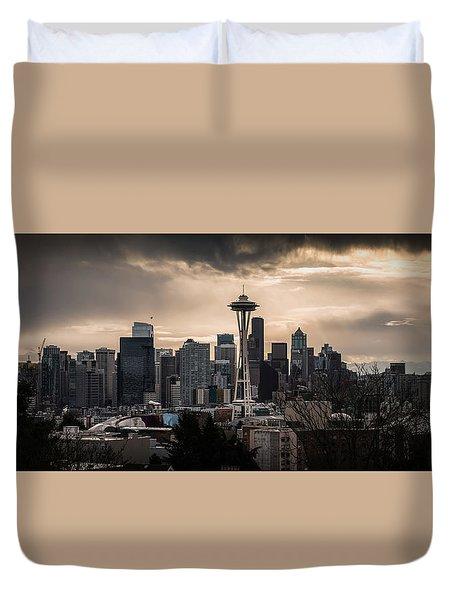 Golden Sky Seattle Duvet Cover by Chris McKenna