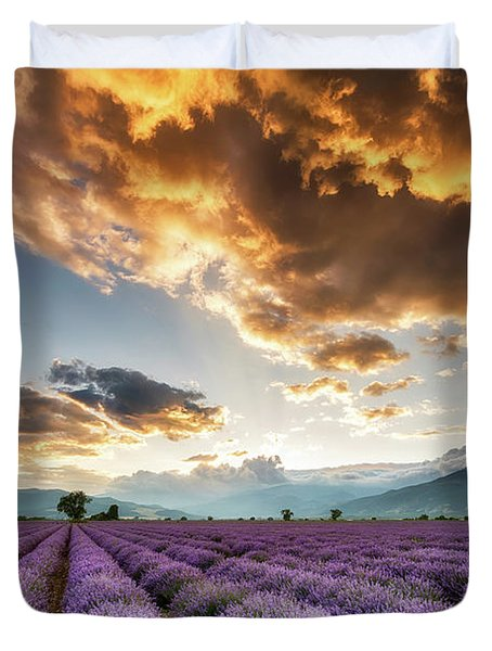 Golden Sky, Violet Earth Duvet Cover by Evgeni Dinev