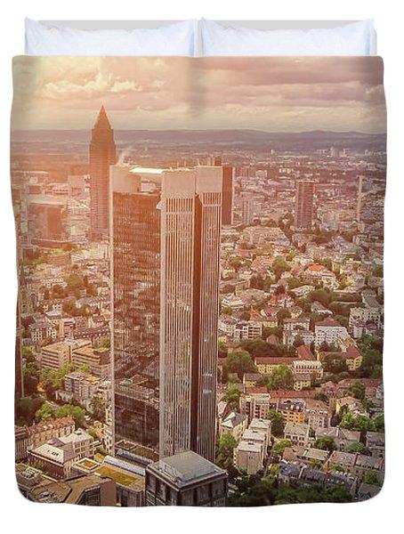 Golden Skyscrapers Of Frankfurt Duvet Cover