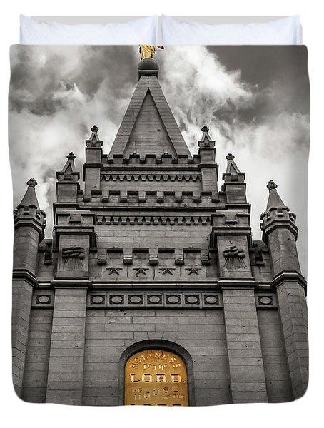 Golden Slc Temple Duvet Cover by La Rae  Roberts