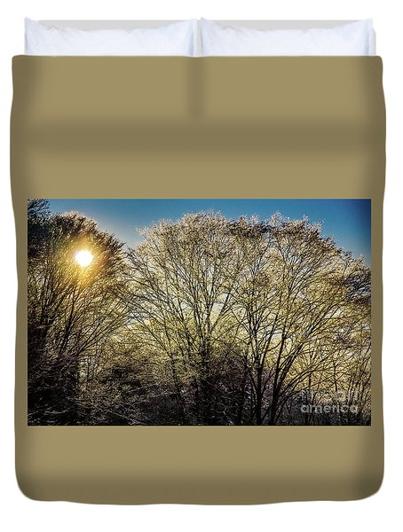 Duvet Cover featuring the photograph Golden Snow by Tatsuya Atarashi