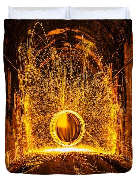Golden Spinning Sphere Duvet Cover