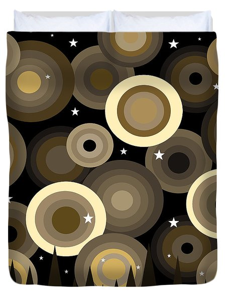 Golden Starry Night Duvet Cover by Val Arie