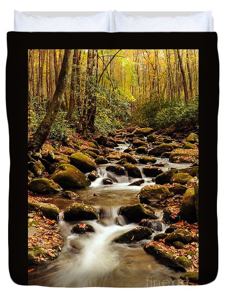 Duvet Cover featuring the photograph Golden Stream In The Great Smoky Mountains by Debbie Green