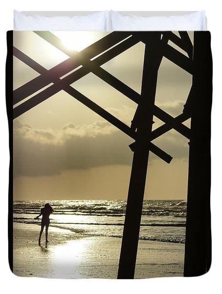 Golden Stroll Duvet Cover by Jennifer White