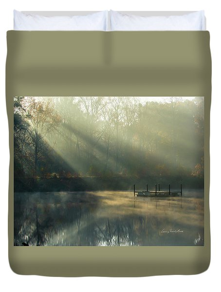 Duvet Cover featuring the photograph Golden Sun Rays by George Randy Bass