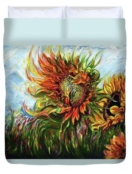 Golden Sunflowers - Harsh Malik Duvet Cover