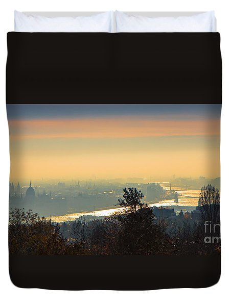 Duvet Cover featuring the photograph Golden Sunrise Over Budapest by Jivko Nakev