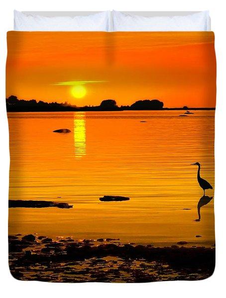Golden Sunset At The Bay Duvet Cover