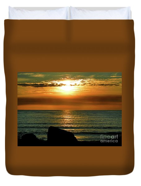 Duvet Cover featuring the photograph Golden Sunset At The Beach IIi by Mariola Bitner