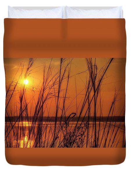 Golden Sunset At The Lake Duvet Cover by John Williams