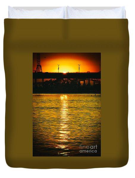Duvet Cover featuring the photograph Golden Sunset Behind Bridge by Mariola Bitner