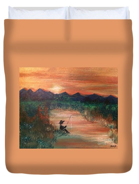 Duvet Cover featuring the painting Golden Sunset by Denise Tomasura