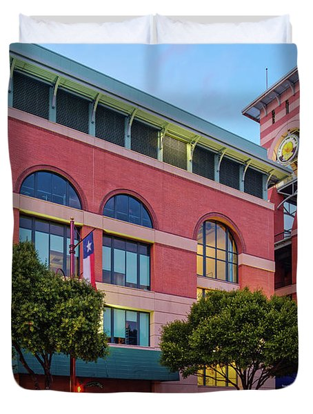 Golden Sunset Glow On The Facade Of Minute Maid Park - Downtown Houston Harris County Texas Duvet Cover