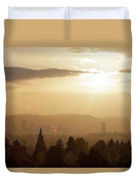 Golden Sunset Over Portland Skyline Duvet Cover by David Gn