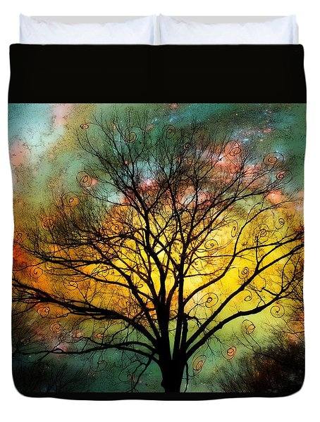 Golden Sunset Treescape Duvet Cover by Barbara Chichester