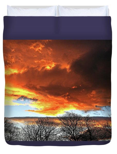 Golden Sunset With Filigree Trees Duvet Cover