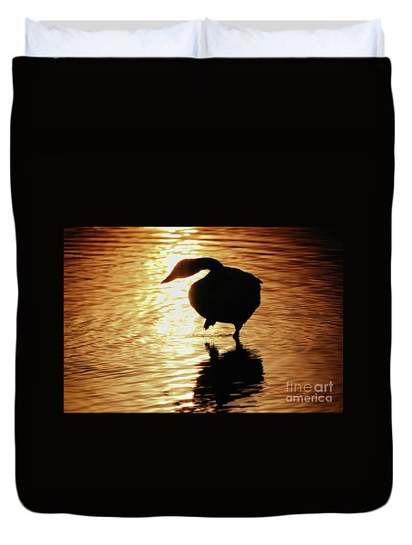 Duvet Cover featuring the photograph Golden Swan by Tatsuya Atarashi