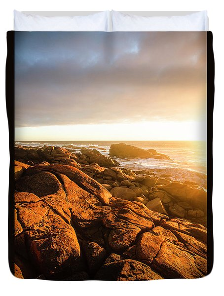 Golden Tasmania Coastline Duvet Cover