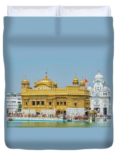 Golden Temple Punjab India With Clear Sky Duvet Cover