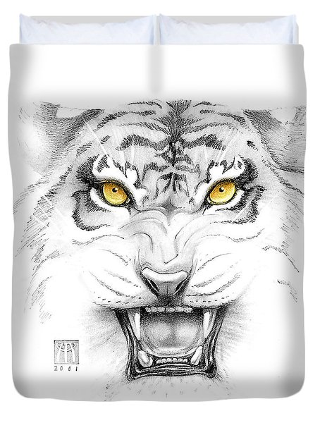 Golden Tiger Eyes Duvet Cover by Melissa A Benson