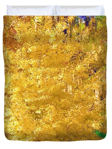 Duvet Cover featuring the photograph Golden Tree by Donna Bentley