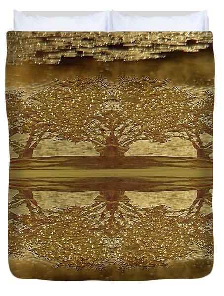 Golden Trees Reflection Duvet Cover