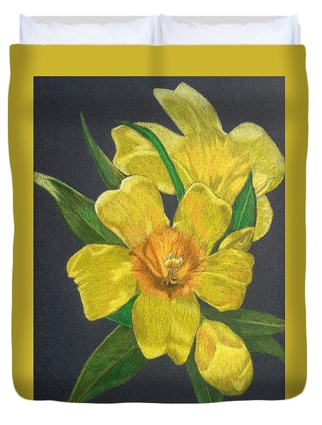 Golden Trumpet Flower - Allamanda Vine Duvet Cover by Anita Putman
