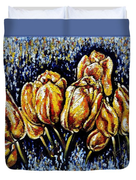 Golden Tulips Duvet Cover