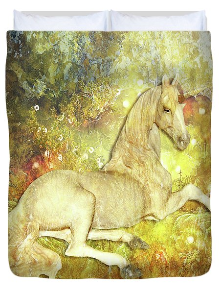Golden Unicorn Dreams Duvet Cover
