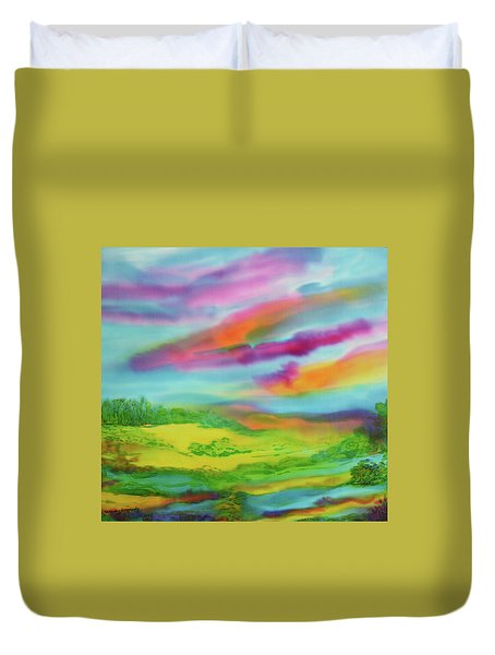 Duvet Cover featuring the painting Escape From Reality by Susan D Moody