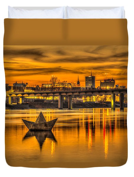 Golden Vistula Duvet Cover by Julis Simo
