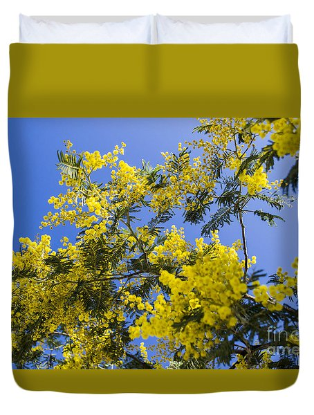 Duvet Cover featuring the photograph Golden Wattle by Angela DeFrias