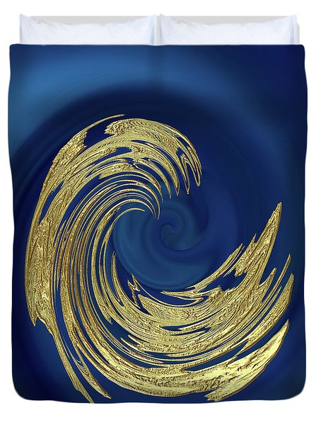 Golden Wave Abstract Duvet Cover