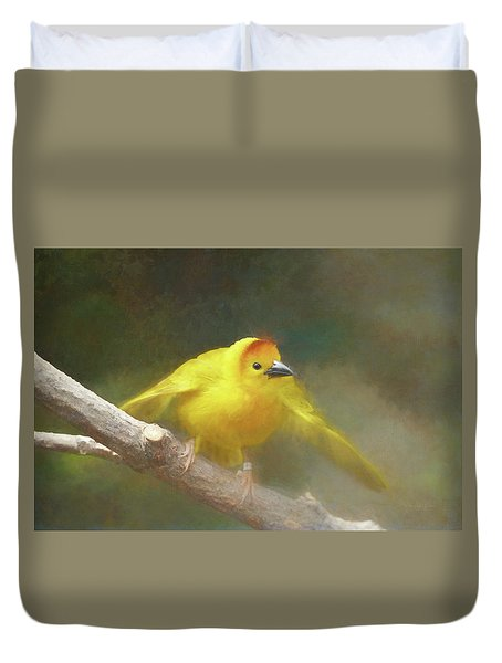 Golden Weaver - Digital Painting Duvet Cover