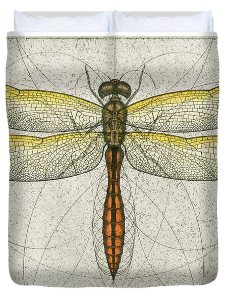 Golden Winged Skimmer Duvet Cover