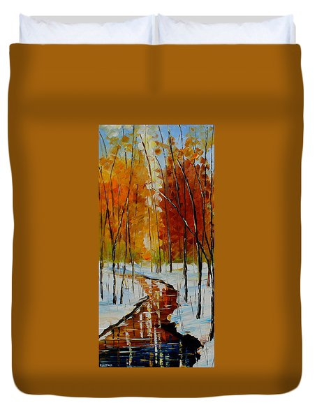 Golden Winter Duvet Cover