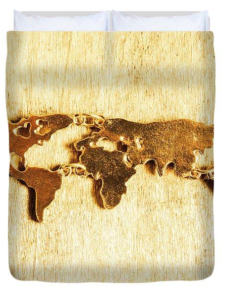 Golden World Continents Duvet Cover