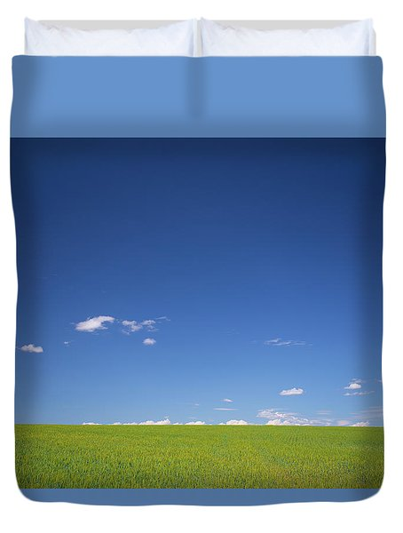 Golden Yellow Of Big Wheat Field,meadows And Closeup Seed With B Duvet Cover by Jingjits Photography