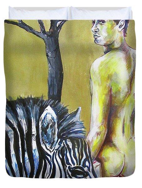 Golden Zebra High Noon Duvet Cover