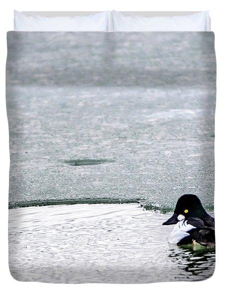 Goldeneye On Ice's Edge Duvet Cover