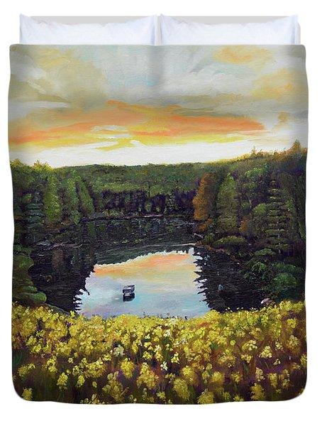 Goldenrods On Davenport Lake-ellijay, Ga  Duvet Cover