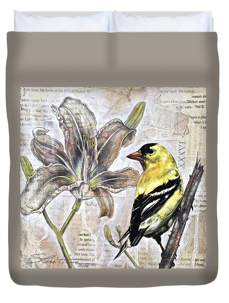 Goldfinch And Lily Duvet Cover by Sheri Howe