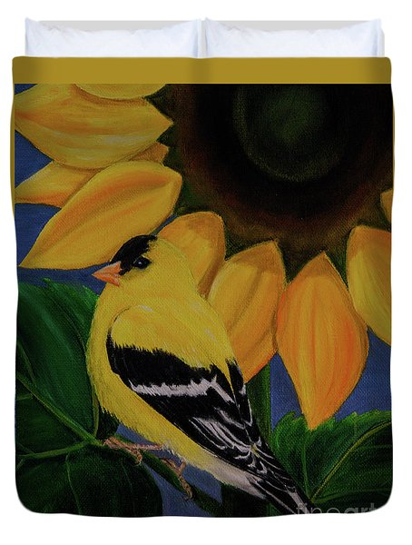 Goldfinch And Sunflower Duvet Cover by Jane Axman