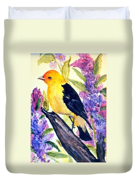 Duvet Cover featuring the painting Goldfinch by Gail Kirtz