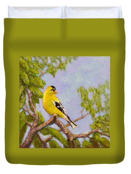 Duvet Cover featuring the painting Goldfinch by Joe Bergholm